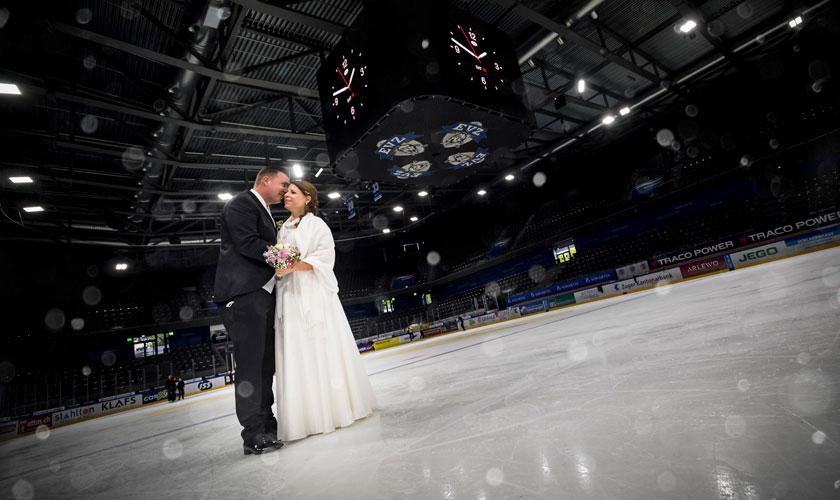 Hochzeitsfotografie, Brautpaar auf dem Eis